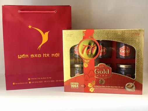 Túi quà Tết Gold Bird Hộp Quà 6 Lọ 190gr - Súp Yến Nguyên Tổ