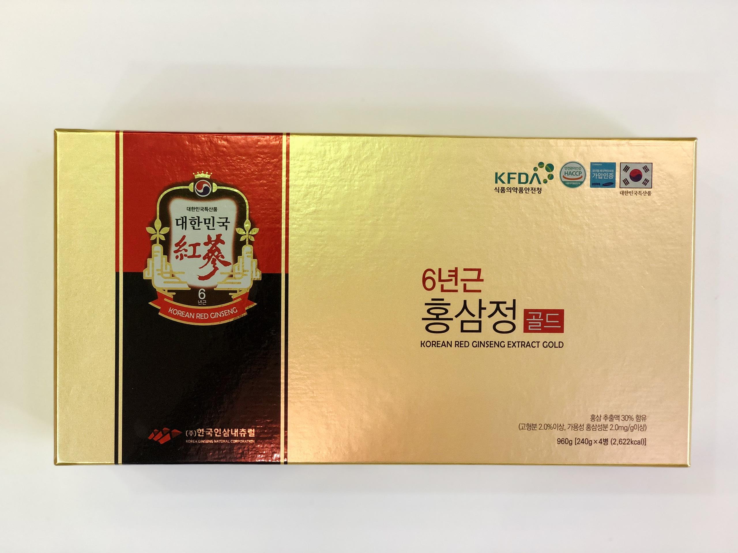 Quà Sang Trọng Cao hồng sâm Korean Red Ginseng Extract Gold 4 lọ
