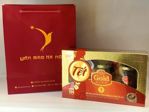 Túi quà Tết Súp Yến nguyên tổ Gold Bird hộp quà 3 lọ 190gr